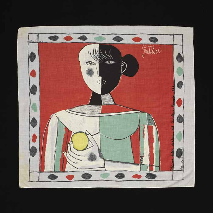 "Франко Джентилини, ""Девушка с лимоном"", 1957, шелковый шарф производства Edizioni del Cavallino. Венеция"