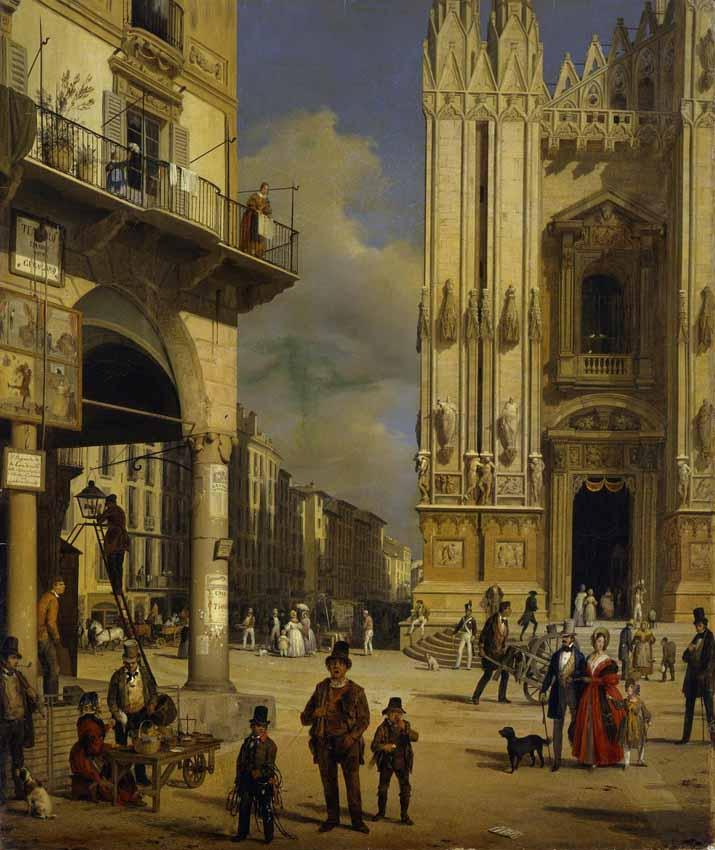 """Анджело Инганни """"Пьяцца дель Дуомо в Милане в 1840 году"""""""