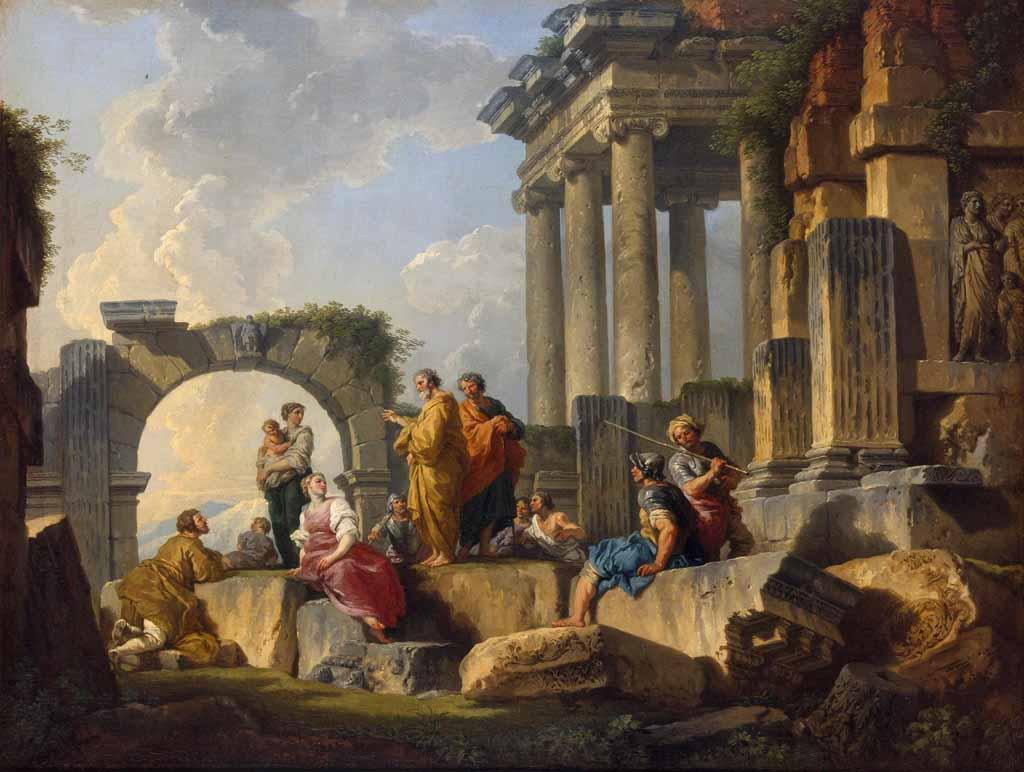 """Джованни Паоло Панини, """"Вид с проповедью святого Павла"""""""