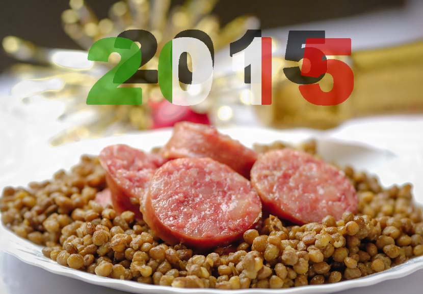 Italian cotechino with lentils on christmas table.