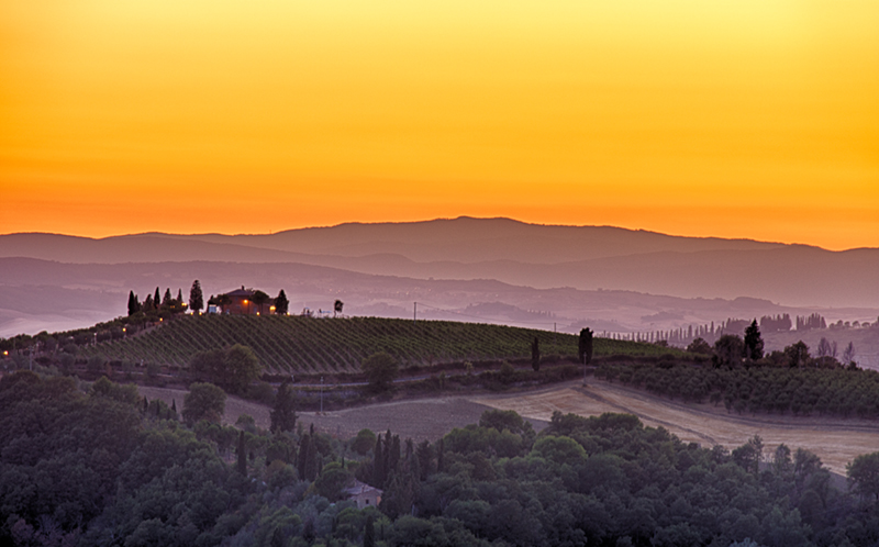 Tuscany Farm in Evening Glow