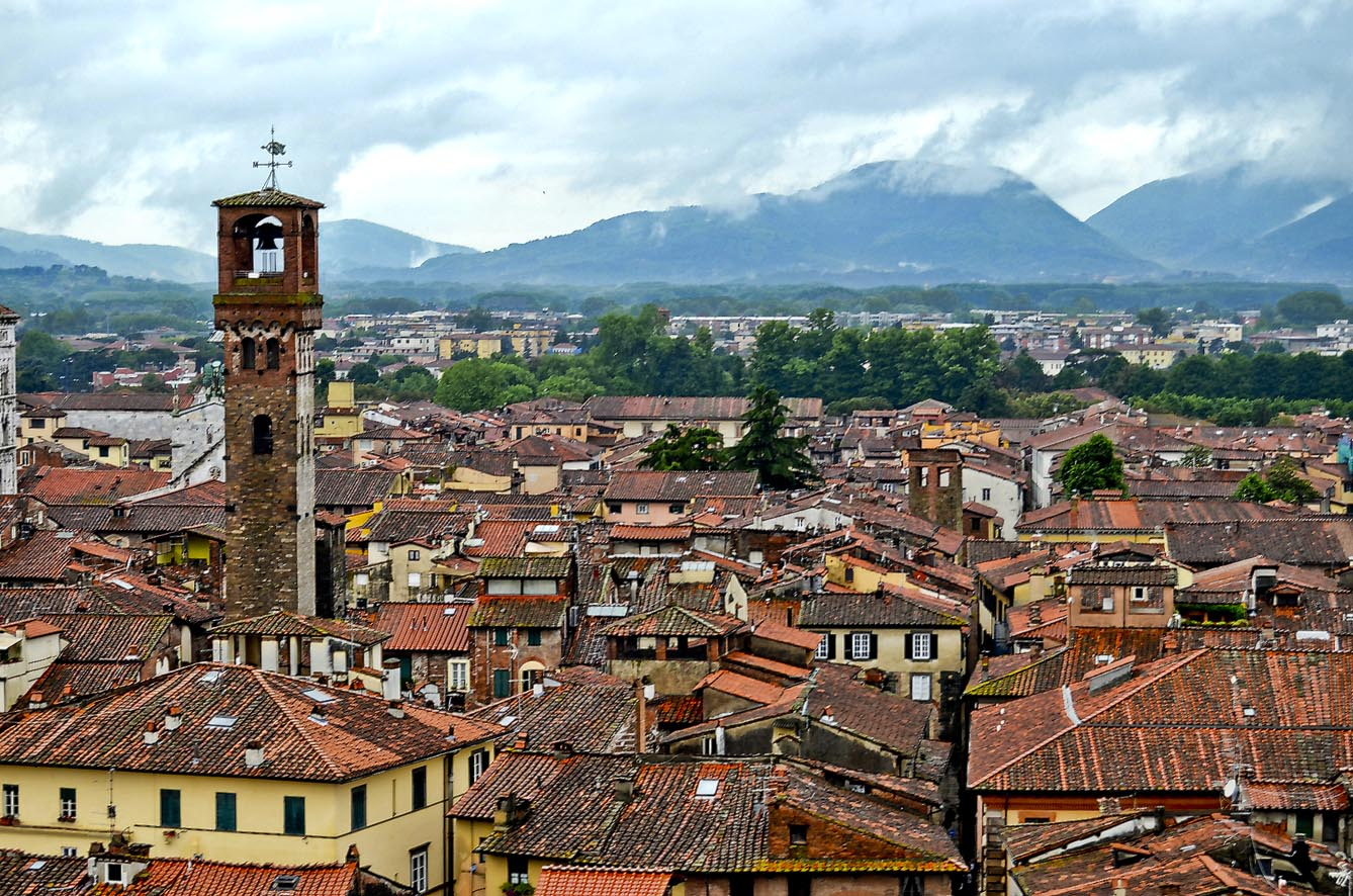 David McSpadden CC BY Views of Lucca from torre guinigi, tower with oak grove on top