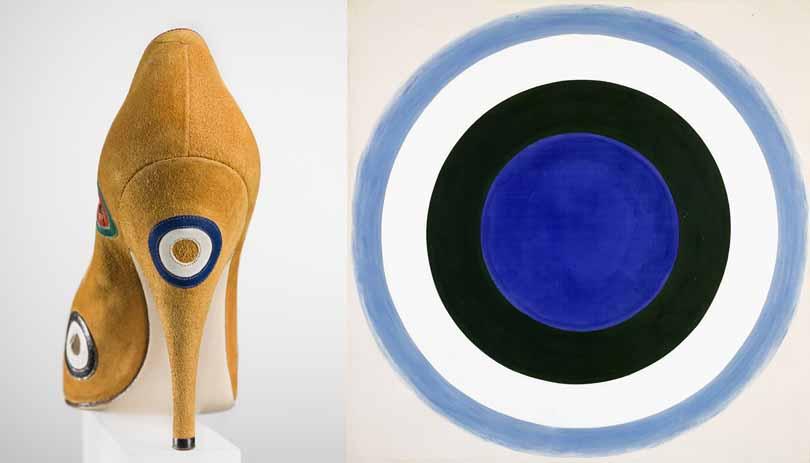 Сальваторе Феррагамо; Декольте «Мишень» 1958, замша с аппликацией. Флоренция, Музей Salvatore Ferragamo. Фото Арриго Coppitz. Для этой модели Феррагамо черпает вдохновение из картин, американского художника Кеннета Ноланда