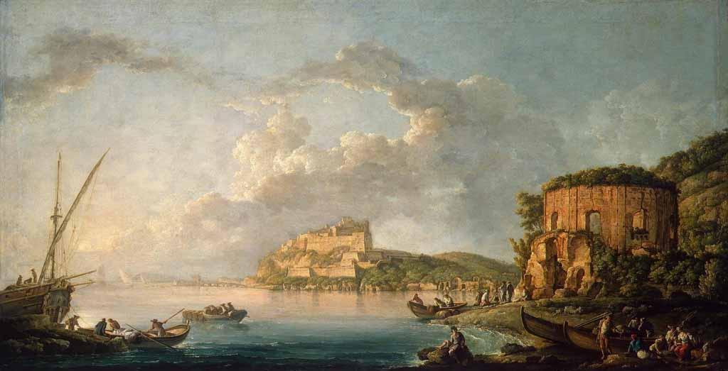 """Карло Бонавия, """"Залив Бая с Арагонского замка и Храма Венеры"""" 1758"""