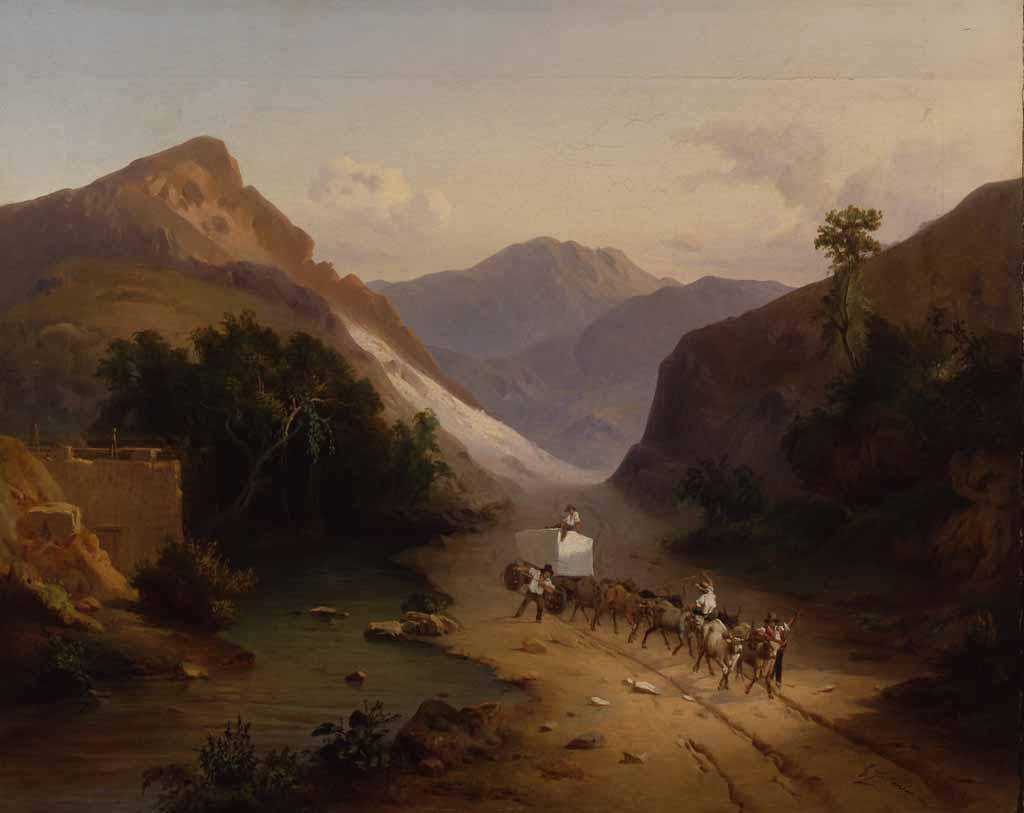 "Джованни Фонтанези ""Перевоз мраморного камня в Каррарских горах"" 1845"