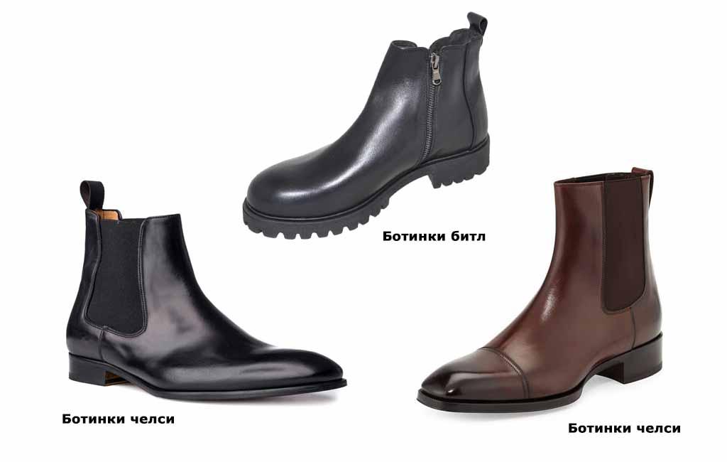 Виды мужских ботинок